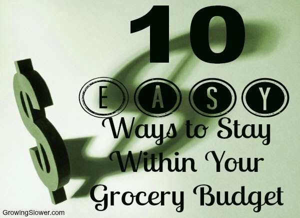 10 Easy Ways to Stay within Your Grocery Budget...#5 is super important!! www.growingslower.com #savingmoney #groceryshopping