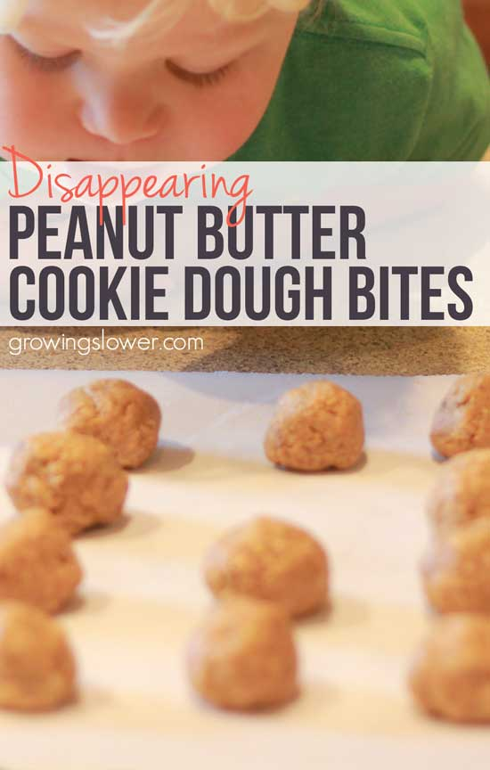 This peanut butter cookie dough bites recipe takes about 7 minutes to make and has just 6 healthy, natural ingredients. Perfect for a quick snack or breakfast, no baking required. But make a bunch, they disappear fast! Gluten Free   Dairy Free   Vegan
